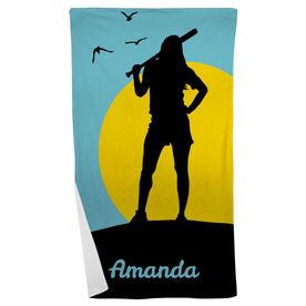 Softball Beach Towel Personalized Sunset Girl