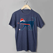 Baseball T-Shirt Short Sleeve Play Ball Christmas Dog