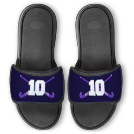 Field Hockey Repwell™ Slide Sandals - Crossed Field Hockey Sticks with Numbers