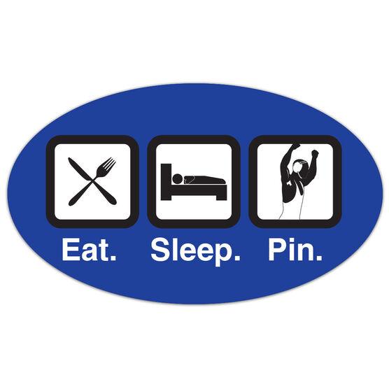 Wrestling Oval Car Magnet Eat Sleep Pin
