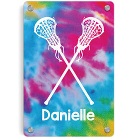 Girls Lacrosse Metal Wall Art Panel - Personalized Tie-Dye Pattern with Sticks