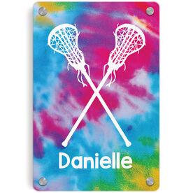 Girls Lacrosse Metal Wall Art Panel - Personalized Tie-Dye Pattern with Sticks