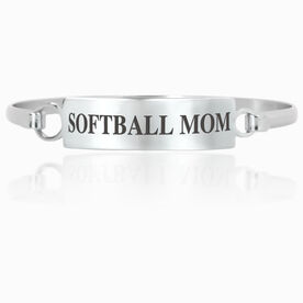 Softball Engraved Clasp Bracelet - Mom (Text)