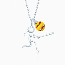 Sterling Silver Softball Girl (Stick Figure) and Mini Enamel Softball Necklace