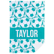 Soccer Premium Blanket - Personalized Side By Side Ball Pattern