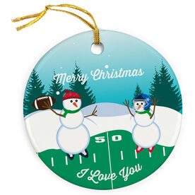 Football Porcelain Ornament Go For The Pass Snowman Dad