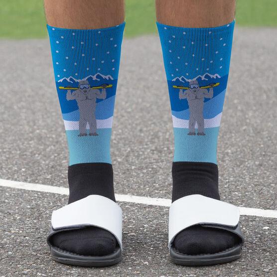 Skiing Printed Mid-Calf Socks - Yeti