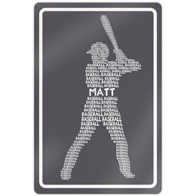 "Baseball Aluminum Room Sign Personalized Baseball Words (18"" X 12"")"