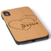 Softball Engraved Wood IPhone® Case - Heart With Personalization