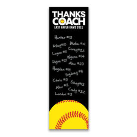 "Softball 12.5"" X 4"" Removable Wall Tile - Thanks Coach (Autograph) Vertical"
