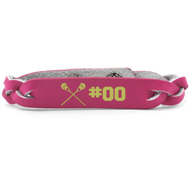 Girls Lacrosse Leather Engraved Bracelet Crossed Sticks with Number