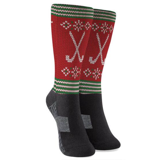 Field Hockey Printed Mid-Calf Socks - Christmas Knit