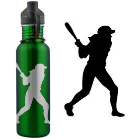 Softball Player Silhouette 24 oz Stainless Steel Water Bottle