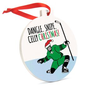 Hockey Round Ceramic Ornament - Dangle Snipe Celly Christmas!