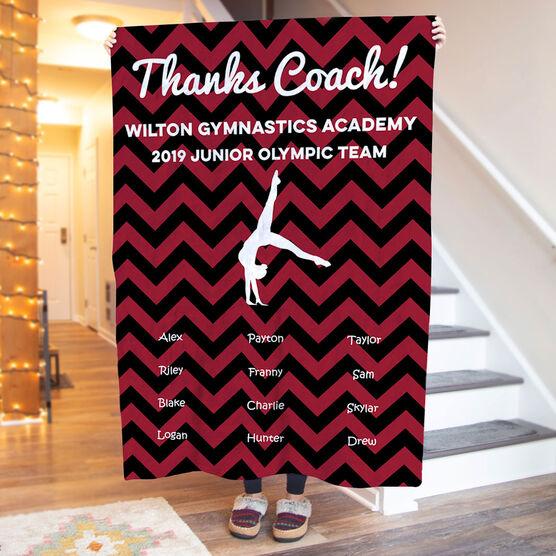 Gymnastics Premium Blanket - Personalized Thanks Coach Chevron