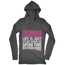 Women's Lacrosse Lightweight Performance Hoodie Lacrosse Is Where We Live (Stacked Pink)
