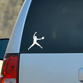 Vinyl Car Decal Softball Pitcher