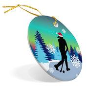 Field Hockey Porcelain Ornament Field Hockey Silhouette With Santa Hat