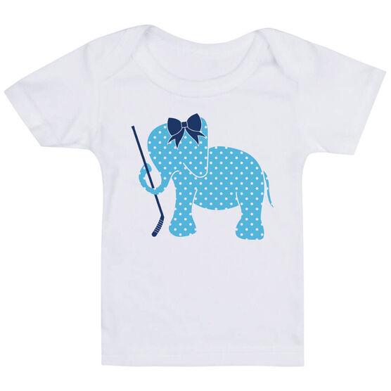 Hockey Baby T-Shirt - Hockey Elephant with Bow  970fc24dd16f