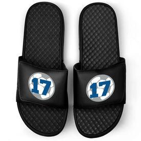 Soccer Black Slide Sandals - Soccer Ball with Number