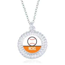 Baseball Braided Circle Necklace - Team Initials With Ball