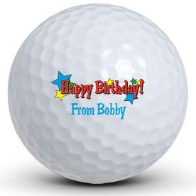 Happy Birthday Stars Golf Balls