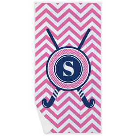 Field Hockey Premium Beach Towel - Single Letter Monogram with Crossed Sticks and Chevron
