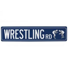 "Wrestling Aluminum Room Sign - Wrestling Road (4""x18"")"
