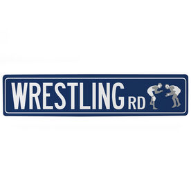 "Wrestling Aluminum Room Sign - Wrestling Road (4""x18"")"