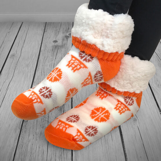 Basketball Slipper Socks with Sherpa Lining