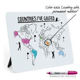 Golf Desk Art - Countries I've Golfed Outline