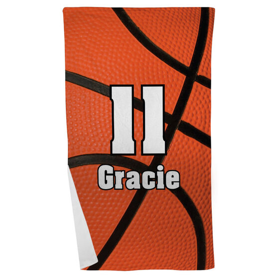Basketball Beach Towel Personalized Big Number