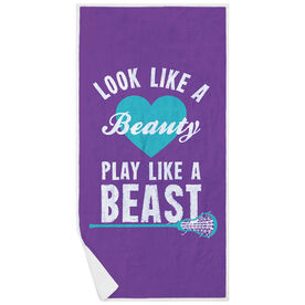 Girls Lacrosse Premium Beach Towel - Look Like A Beauty Play Like A Beast