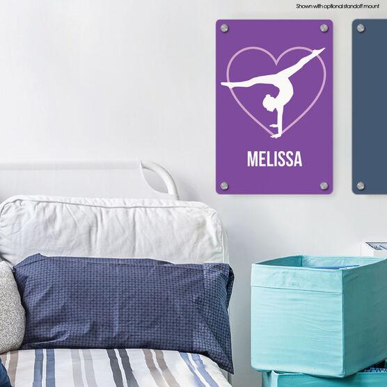 "Gymnastics 18"" X 12"" Aluminum Room Sign - Personalized Heart"