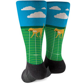 Guys Lacrosse Printed Mid-Calf Socks - Max The Lax Dog