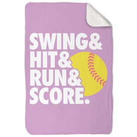 Softball Sherpa Fleece Blanket Swing & Hit & Run & Score
