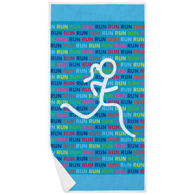 Running Premium Beach Towel - Run Run Run Figure Girl