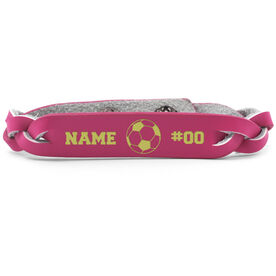 Soccer Leather Engraved Bracelet Name Ball Number