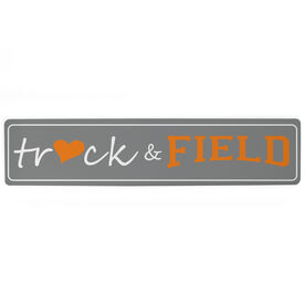 "Track and Field Aluminum Room Sign - Heart Track And Field (4""x18"")"
