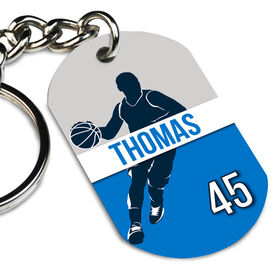 Basketball Printed Dog Tag Keychain Personalized Basketball Guy Name and Number