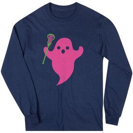 Girls Lacrosse Long Sleeve Tee - Pink Ghost with lacrosse Stick
