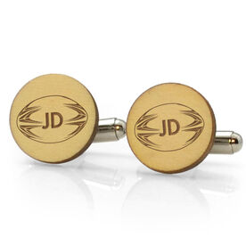 Rugby Engraved Wood Cufflinks Ball With Initials