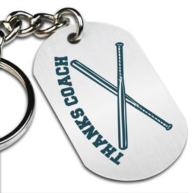 Thanks Coach Softball Printed Dog Tag Keychain