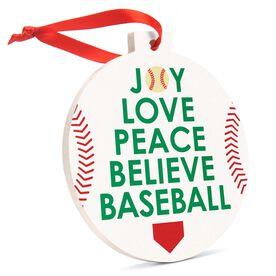 Baseball Round Ceramic Ornament - Word Christmas Tree
