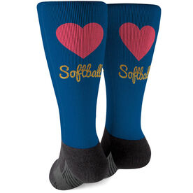 Softball Printed Mid-Calf Socks - Heart With Glitter