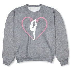 Figure Skating Crew Neck Sweatshirt - Heart Skater