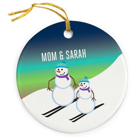 Skiing Porcelain Ornament Snowman Mother and Child