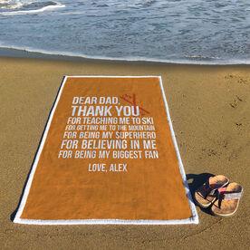 Skiing Premium Beach Towel - Dear Dad