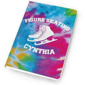 Figure Skating Notebook Tie Dye Pattern with Skates