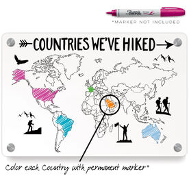 Metal Wall Art Panel - Countries We've Hiked Outline